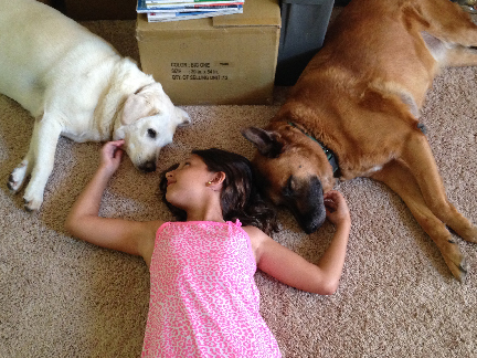 Antonia loves the dogs, too.
